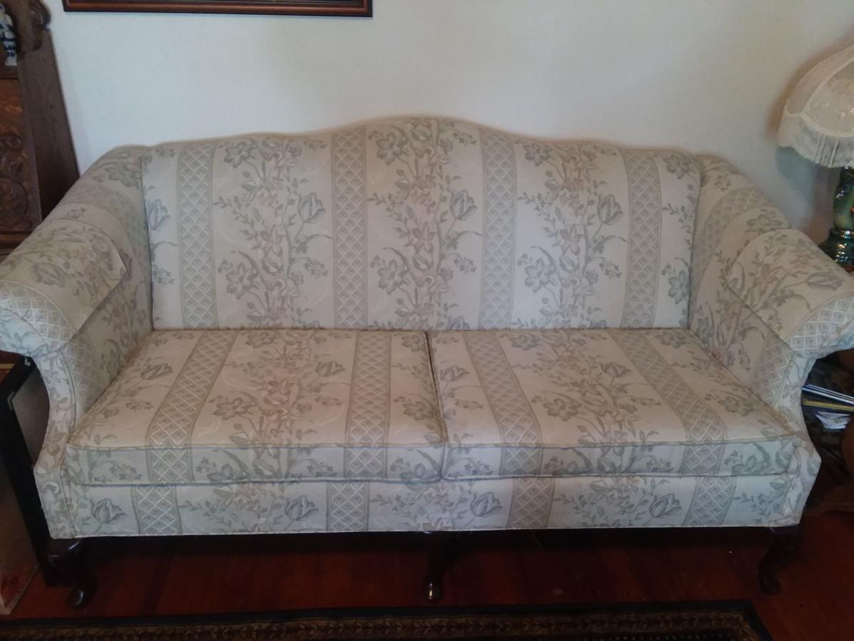 Charles Schneider Sofa, Wing Back Chair and Antique Table Lamps image 1