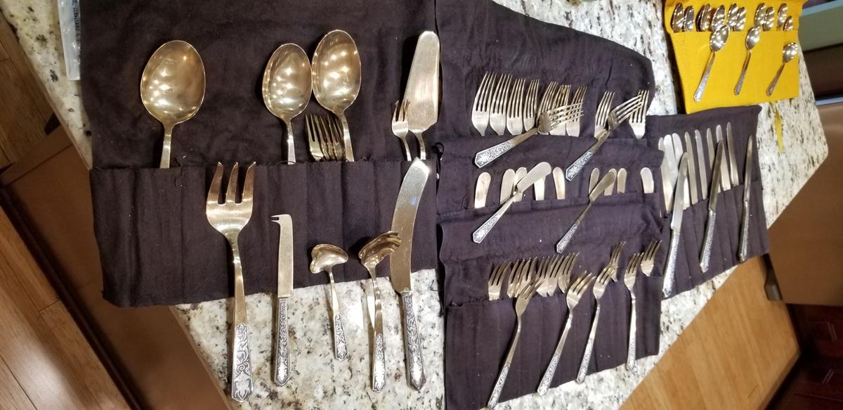 Rare brass and inlaid silver Amfarco Siam dinnerware image 1