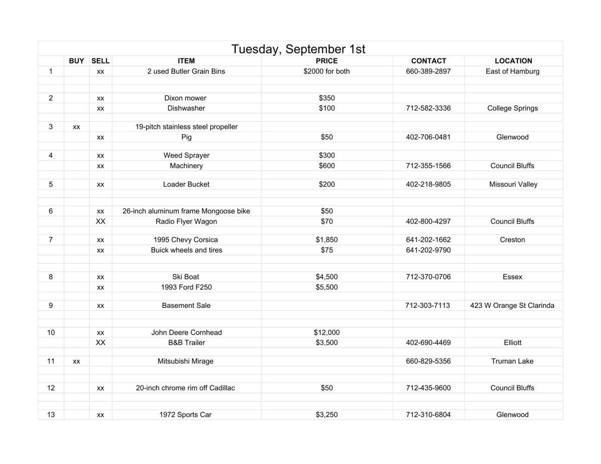 Tuesday, September 1st