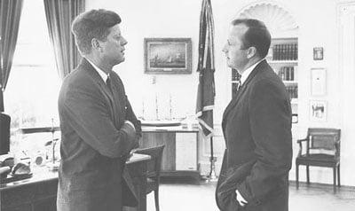 Hugh Sidey with JFK