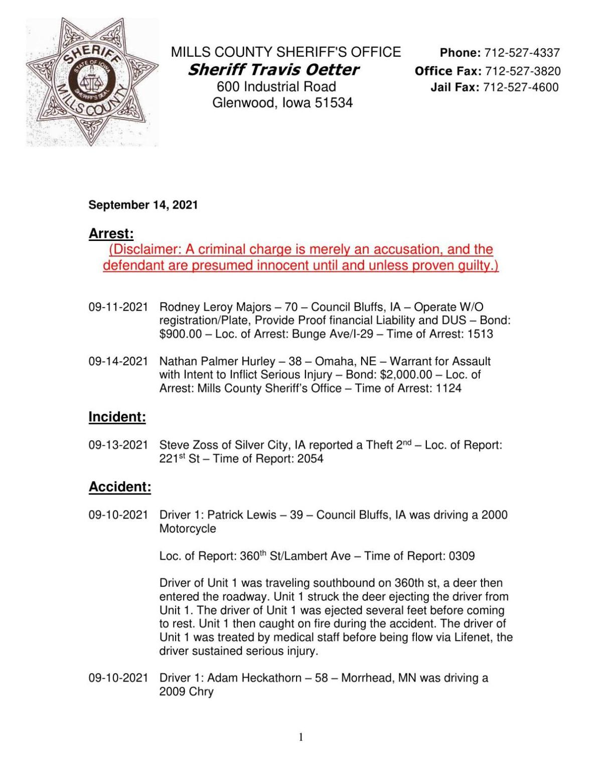 Mill's County Sheriff's Office Release
