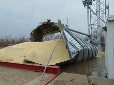 Flooded grain bin in Hamburg