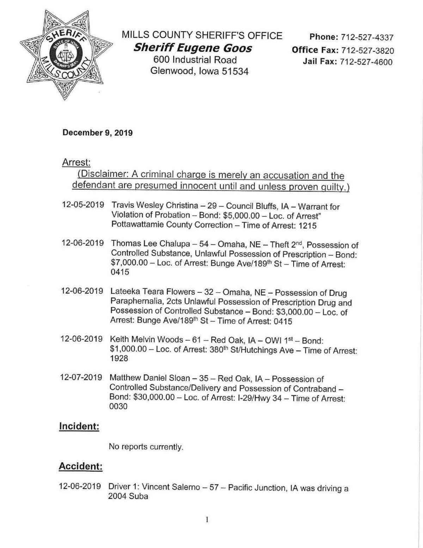 Mills County Sheriffs Report I 12/9/2019