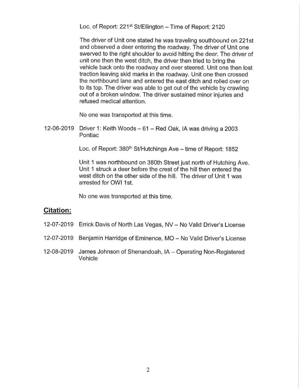 Mills County Sheriff's Report II 12/9/2019