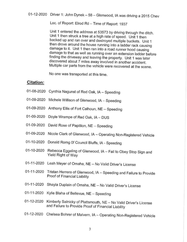 Mills County Sheriff's Report III 1/13/2020