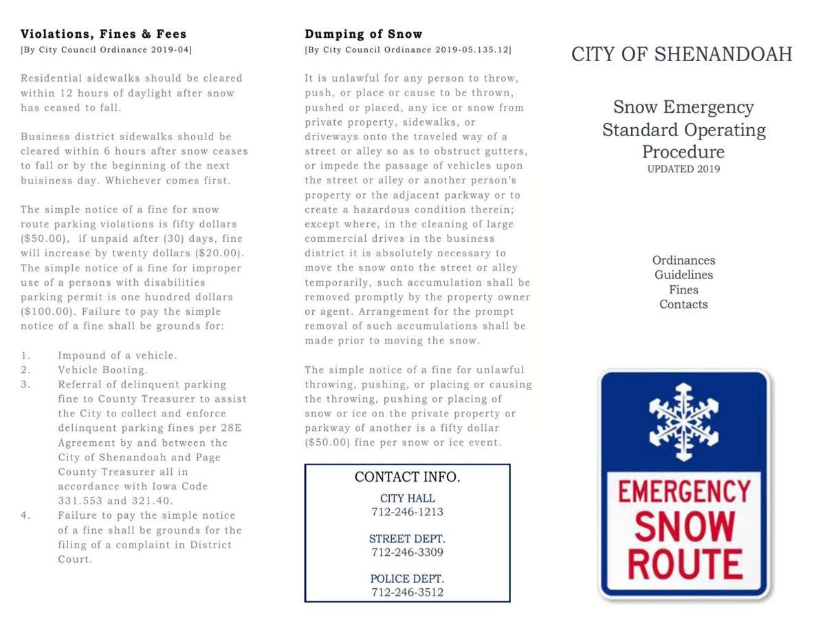 Shenandoah Snow Ordinance Pamplet