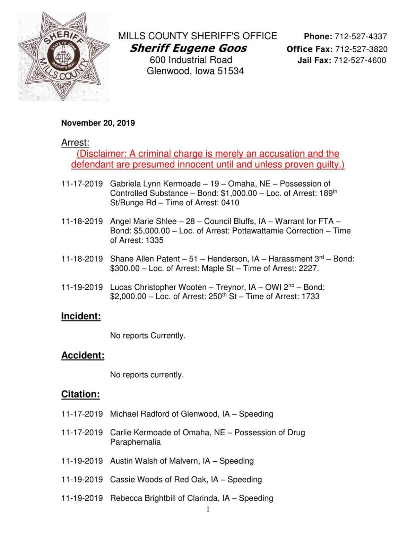 Mills Co. Sheriff's Blotter 11/20/19