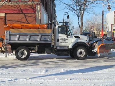 Snow plow in downtown Shenandoah