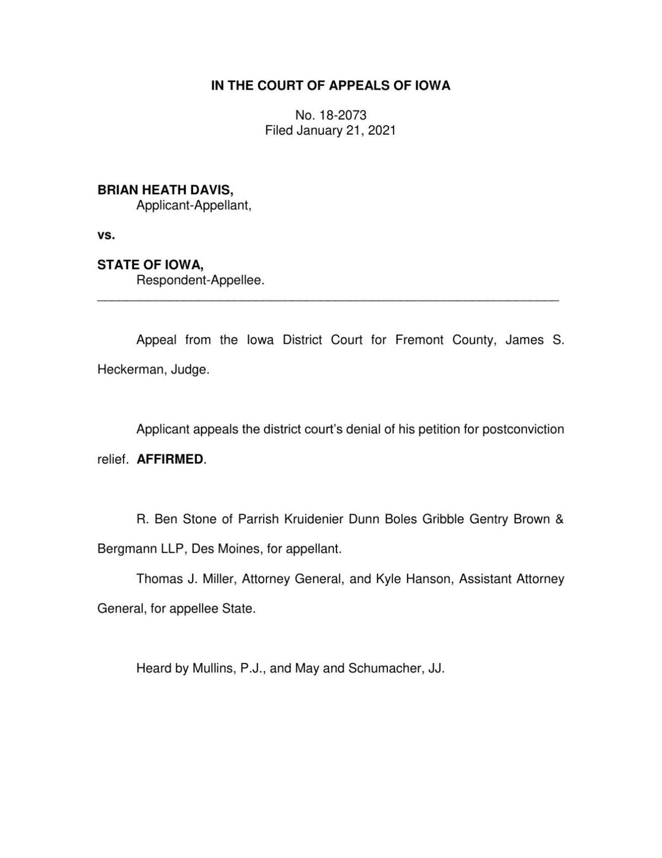 Davis PCR Court of Appeals