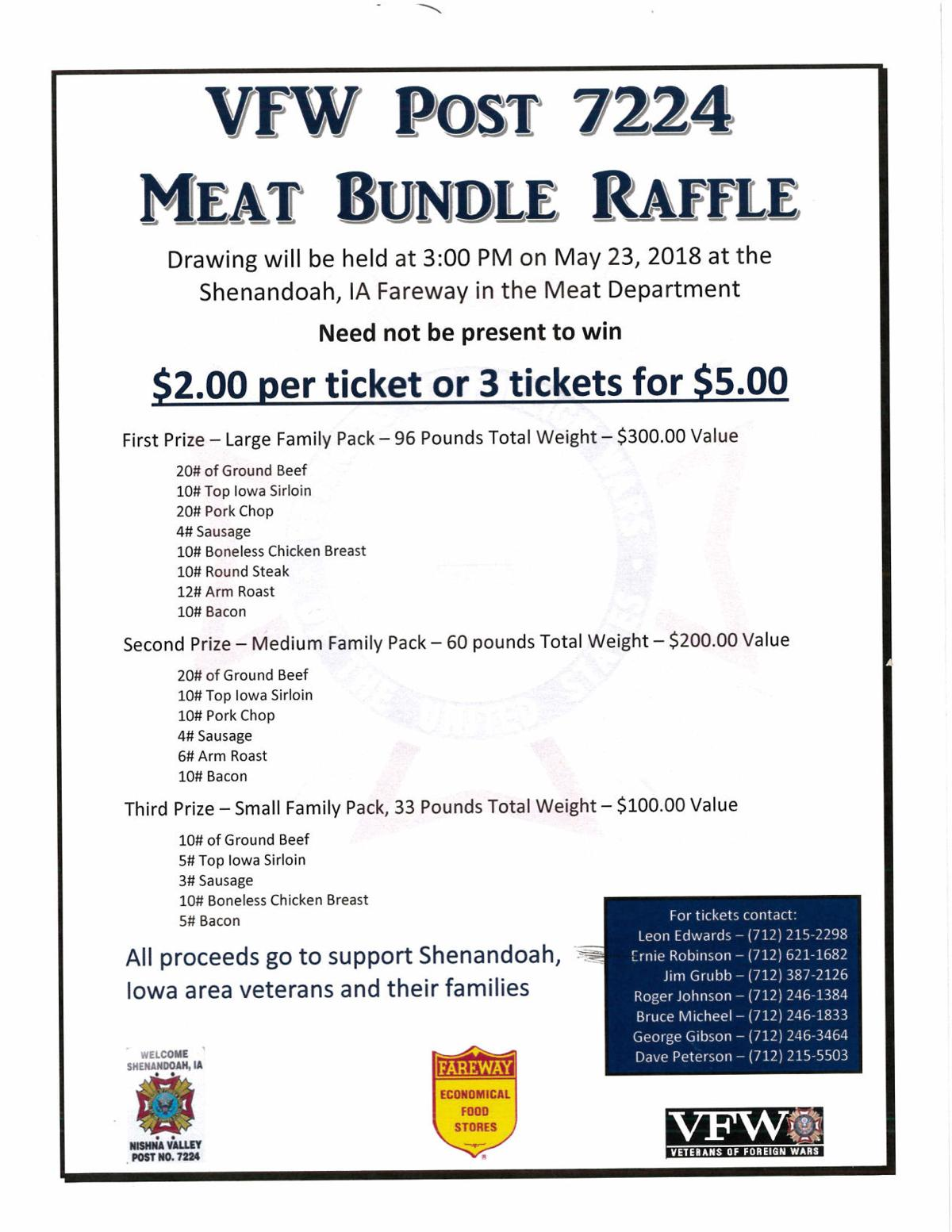 Shen Vfw Holding Raffle For Meat Bundles News Kmalandcom