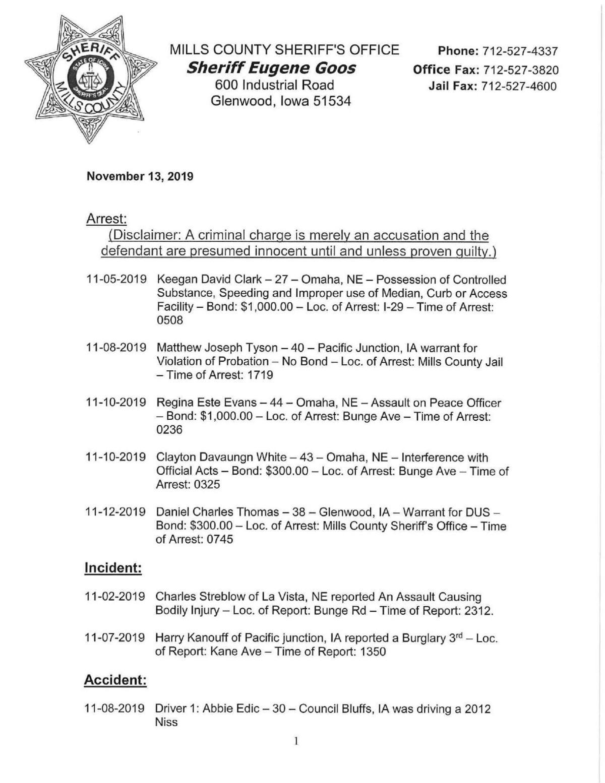 Mills County Sheriffs Report I 11132019