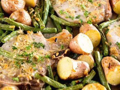 One Pan Parmesan Pork Chop and Veggies