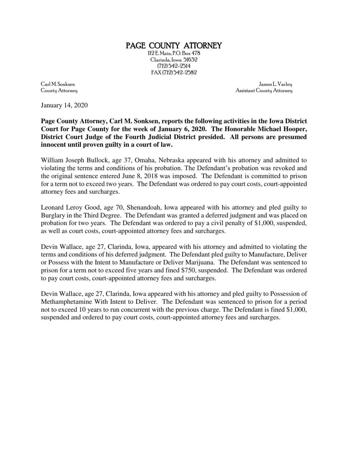 Page County Attorney's Report 01/15/20