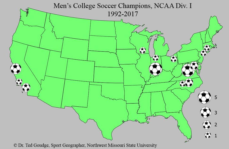 Geography with Goudge: Men's College Soccer Champions