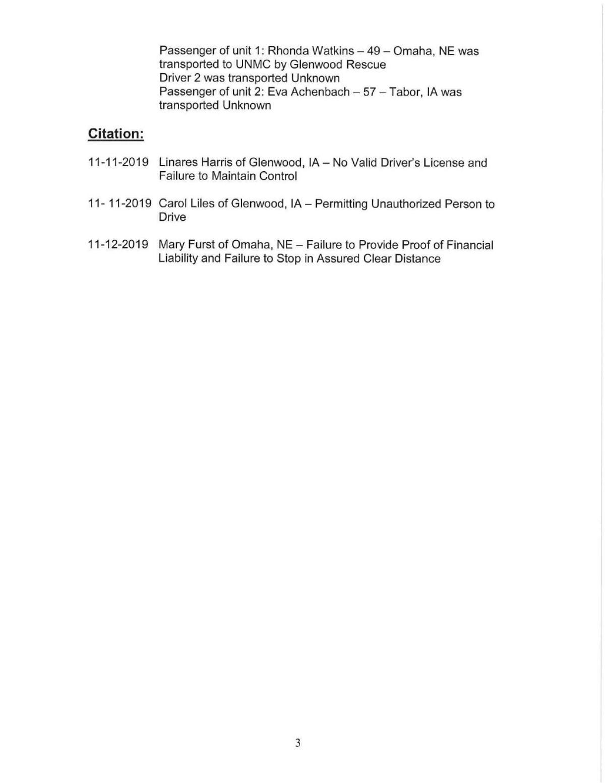 Mills County Sheriffs Report III 11132019