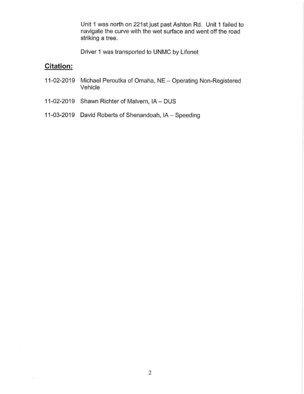 Mills County Sheriff's Report II 11/4/2019