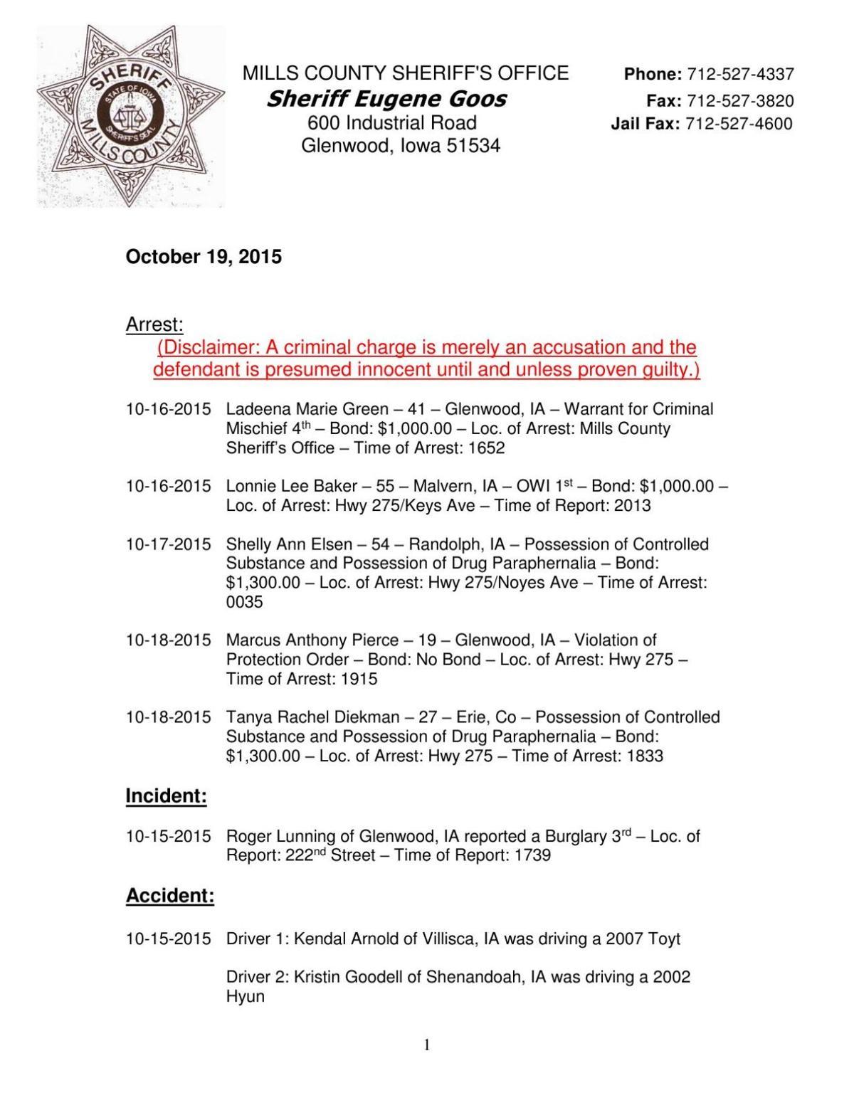 Mills County Sheriff's Report   News   kmaland com