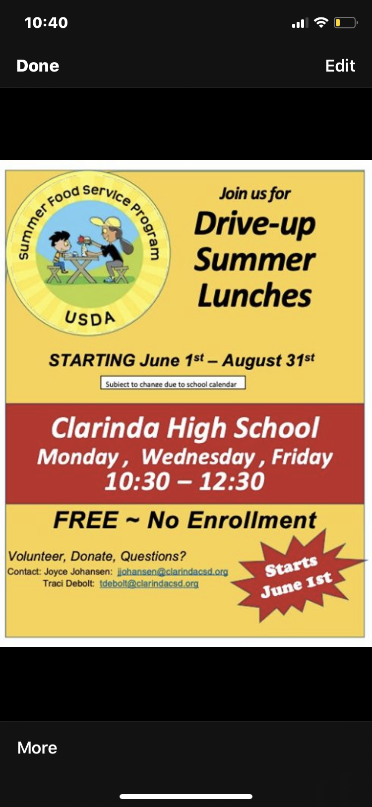 Clarinda USDA Summer Lunch Program