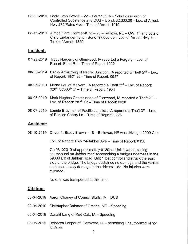 Mills County Sheriffs Report II 8/13/2019
