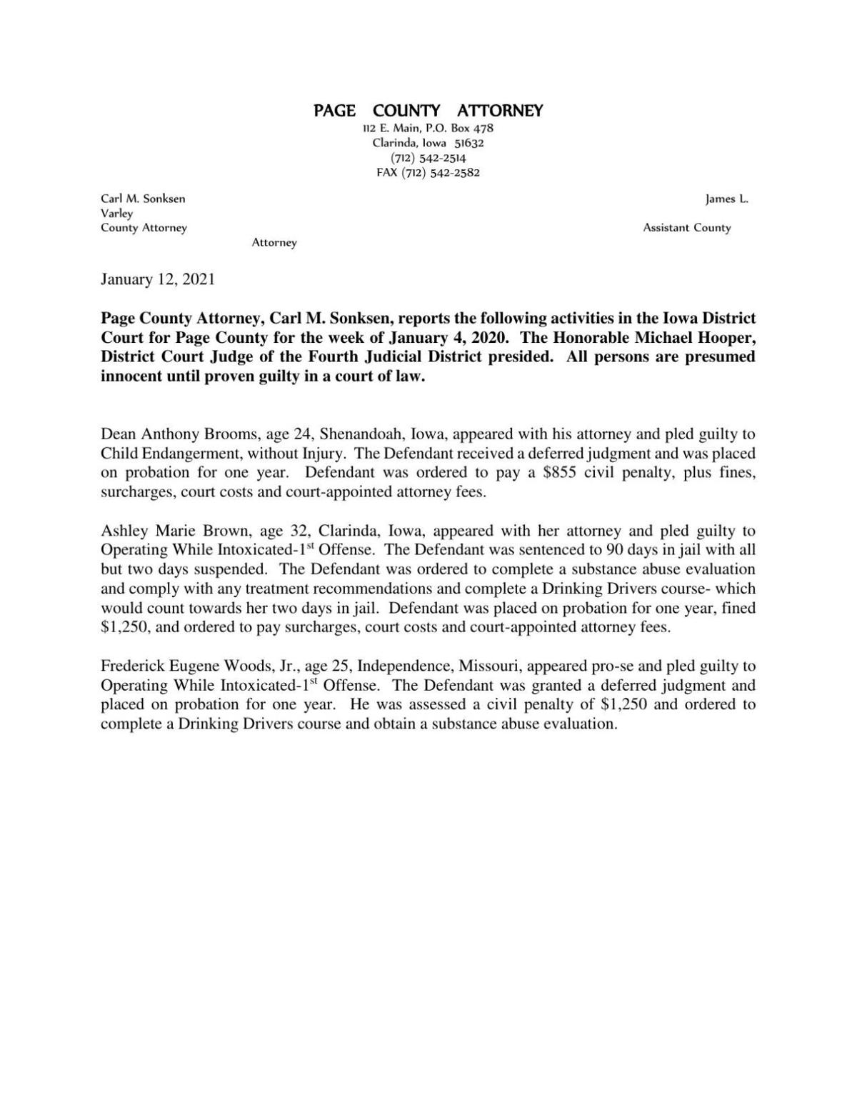 Page County Attorney's Report 1/13/2021