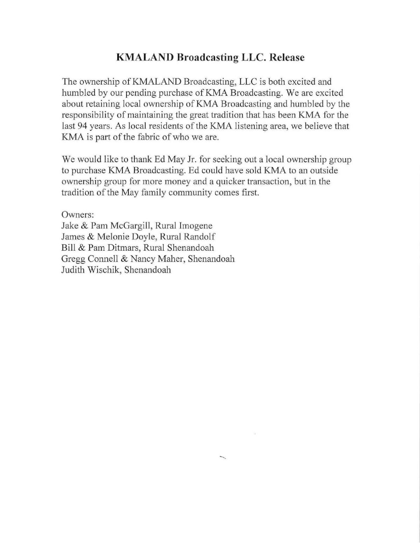 KMA Investors Release