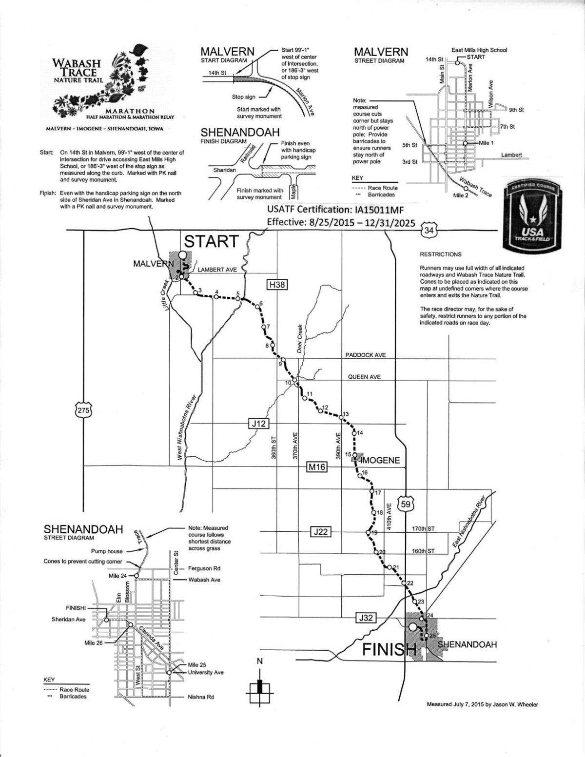 Wabash Marathon Certification map