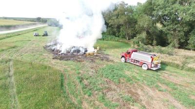 Essex Fire Rescue battles haybale fire