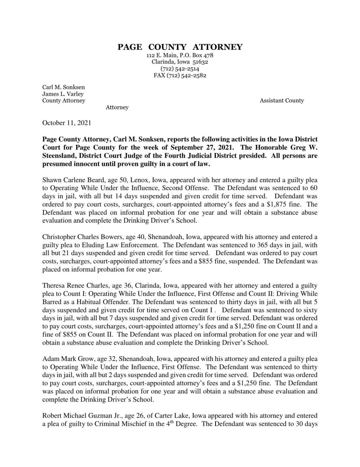 Page County Attorney's Report