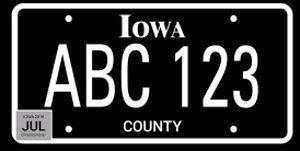 Iowa Blackout License Plate