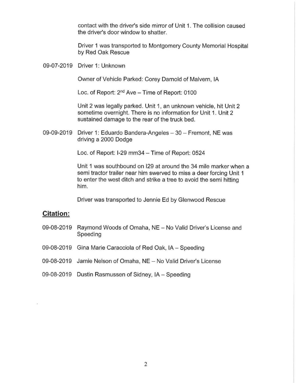 Mills County Sheriff's Report II 992019