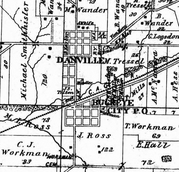 Danville and Buckeye City 1896 Map