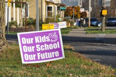 East Knox new-school levy signs