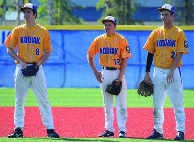 Kodiak Post 17's Ryan Bezona, left, Aaron Hocum and Austin Frick