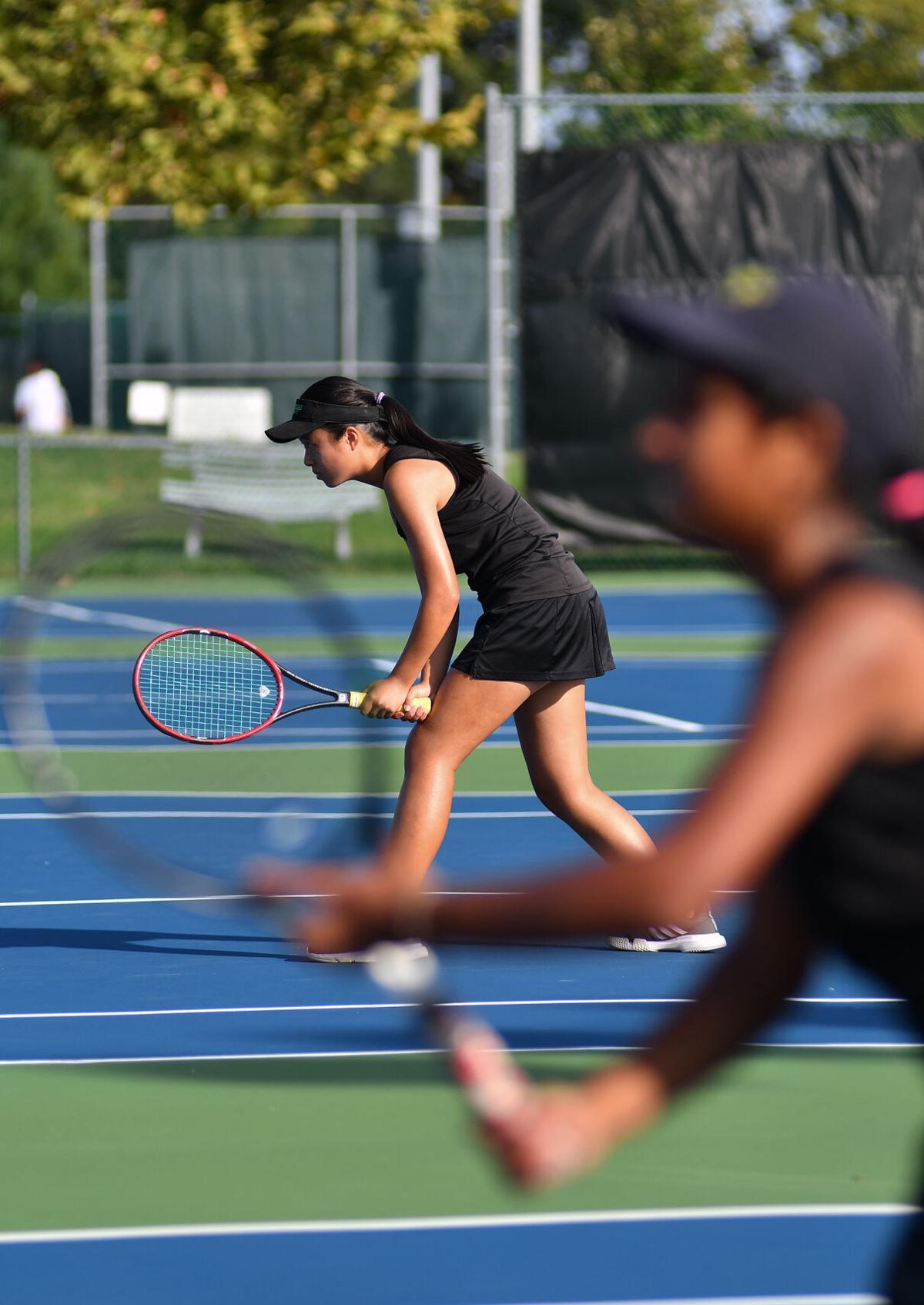 Rock Bridge tennis player Maggie Jiayi Lin readies herself