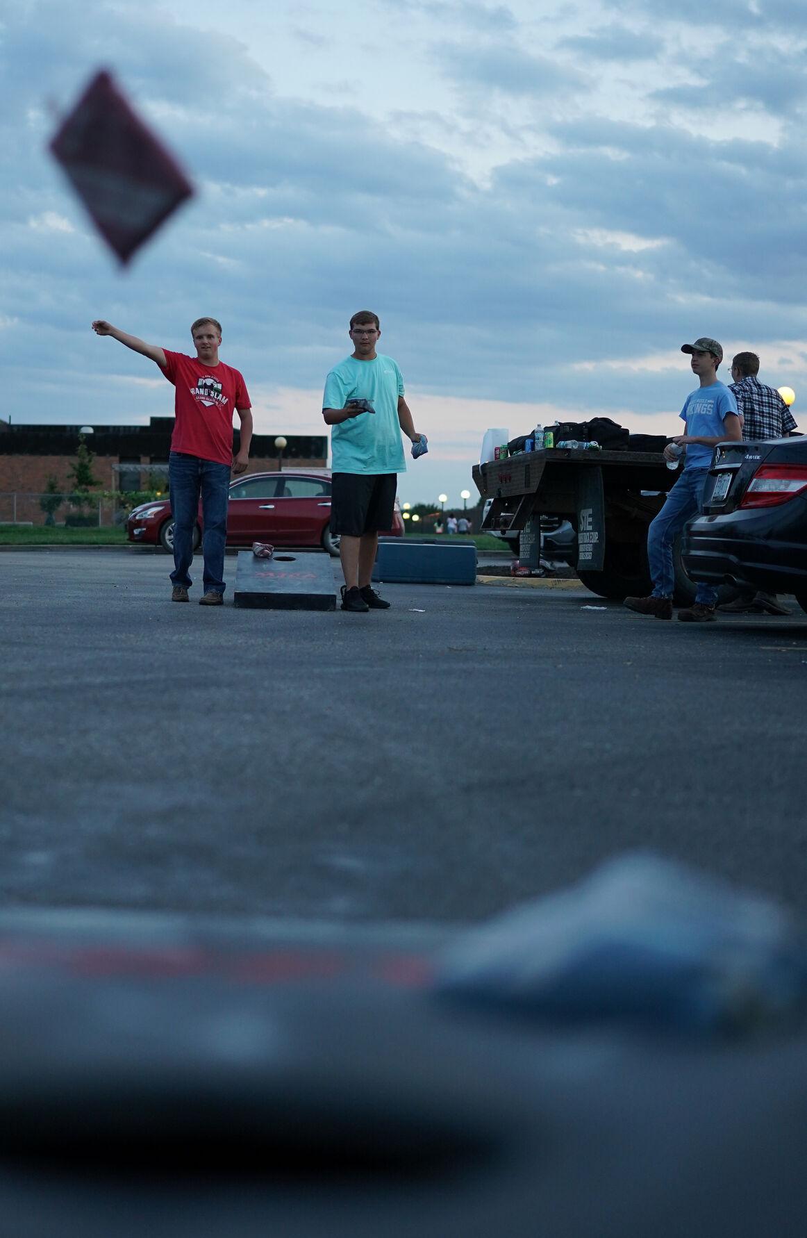 Ethan Vanderwert, left, and Braeden Anderson toss bean