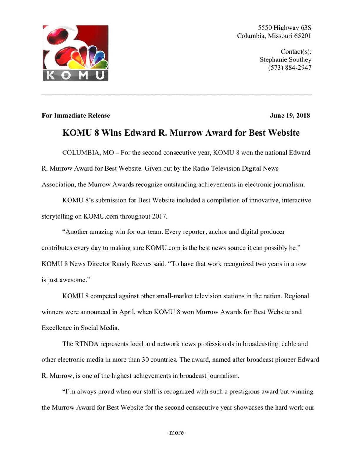 KOMU 8 2018 Edward R. Murrow Awards