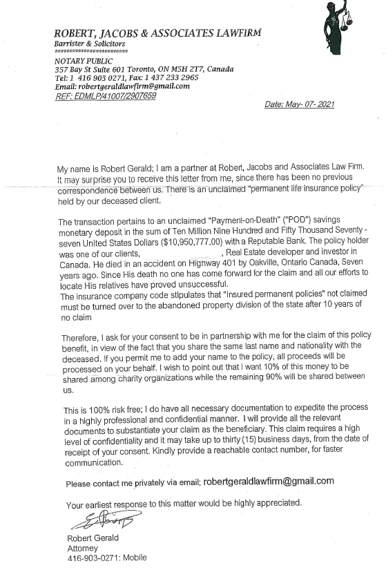 Example scam letter
