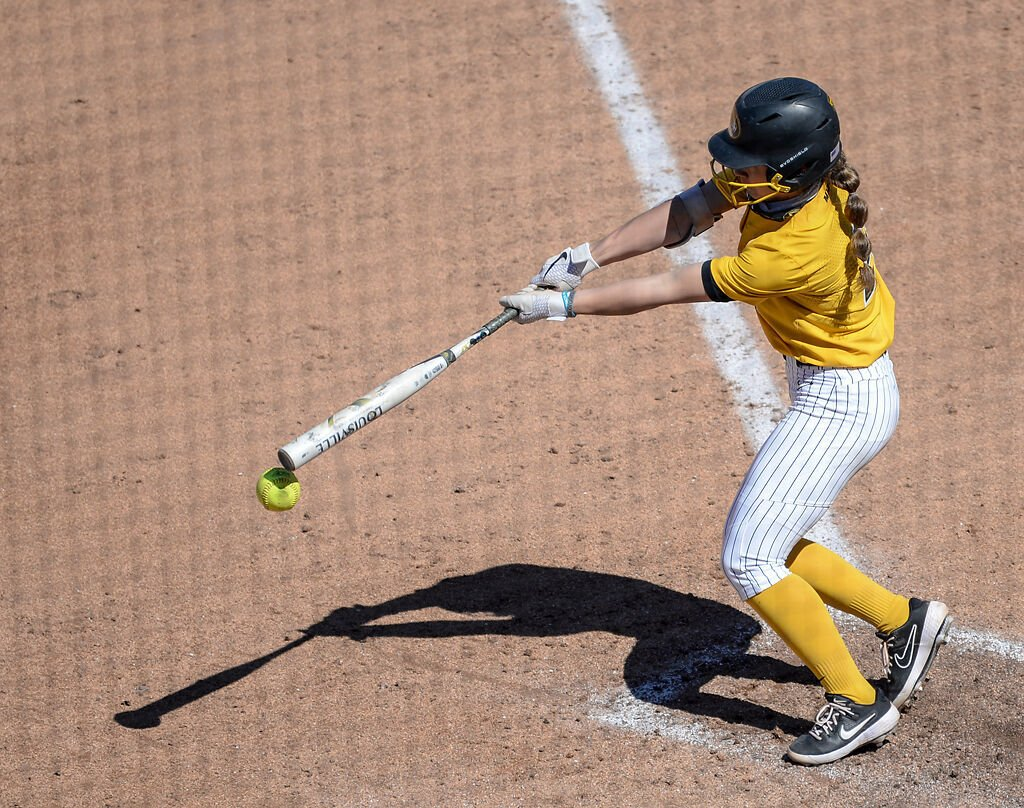 Missouri freshman Jenna Laird bats against Auburn