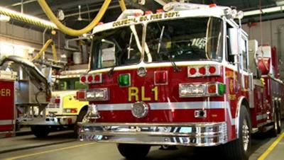 St Louis firefighters rescue man trapped at train station