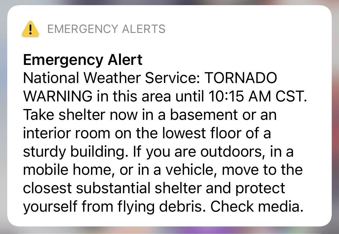Alert sent Tuesday 10 a.m.