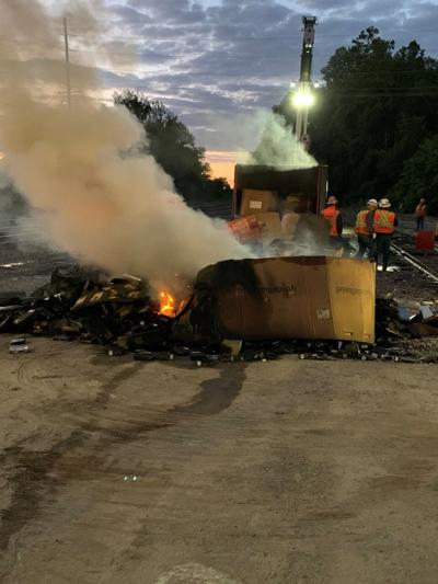A Union Pacific intermodal container was caught on fire on the railroad tracks.