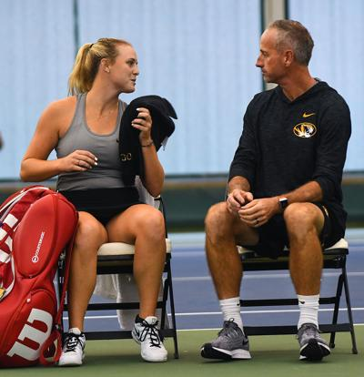 Missouri's Gabrielle Goldin speaks with Associate Head Coach