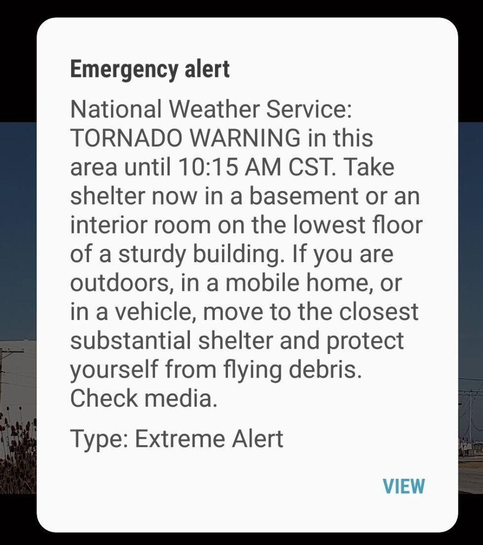 Android Alert sent Tuesday 10 a.m.