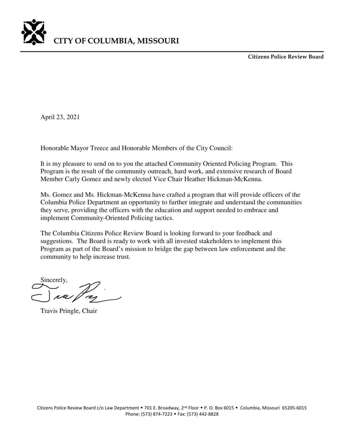Letter to City Council from Columbia Citizens Police Review Board