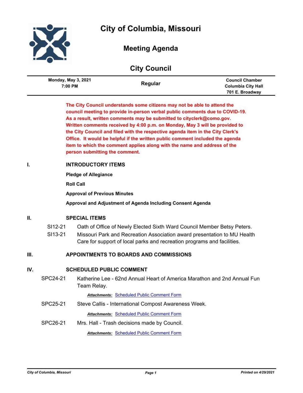 Columbia City Council May 3 Agenda