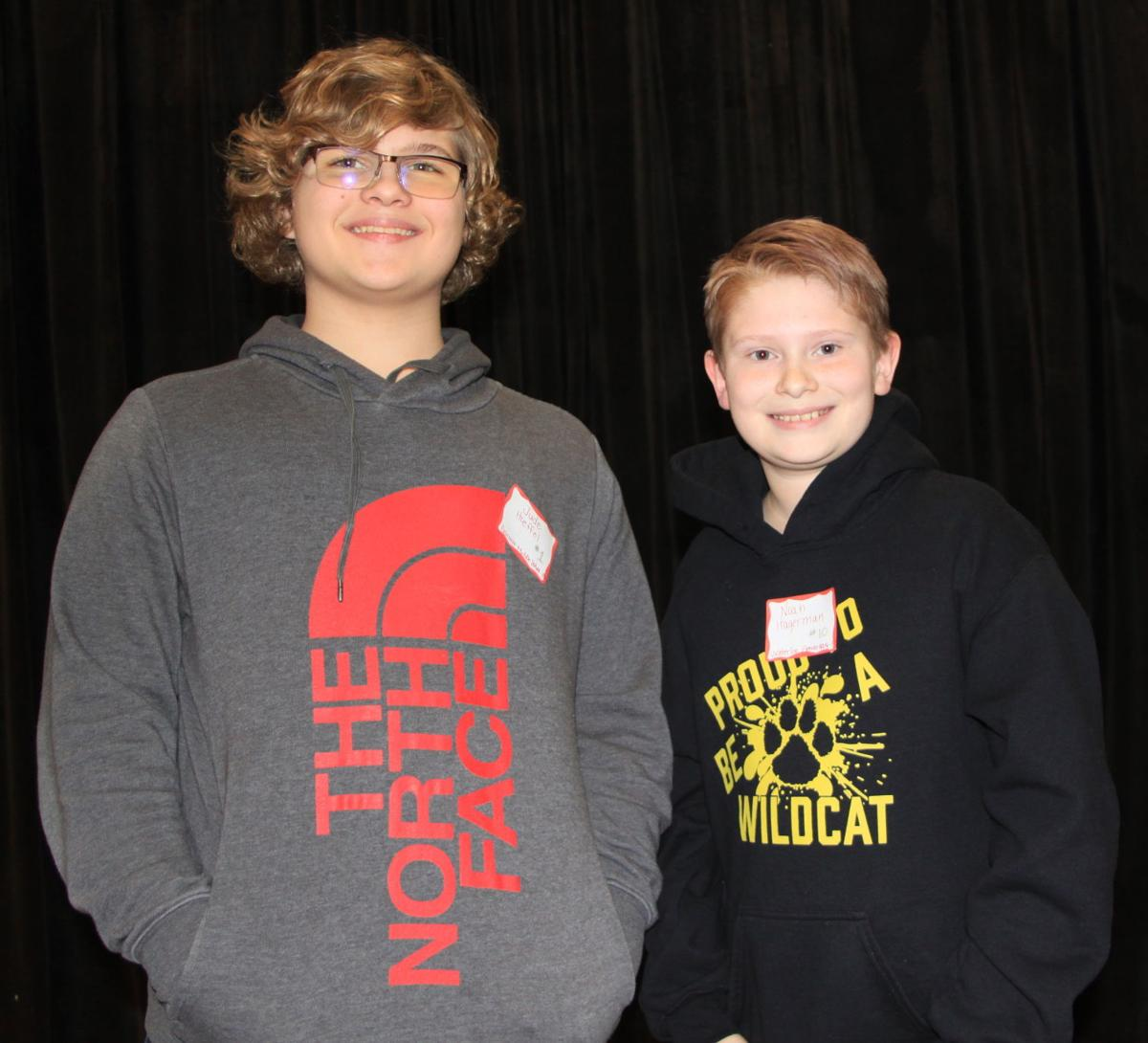 Jude Hoeffel, Noah Hagerman, DeKalb County spelling bee