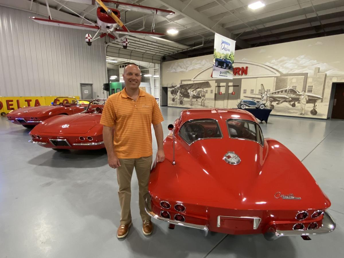 John Kruse with The Red Collection of Corvettes at Kruse Plaza