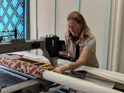 Quilting on a long arm machine