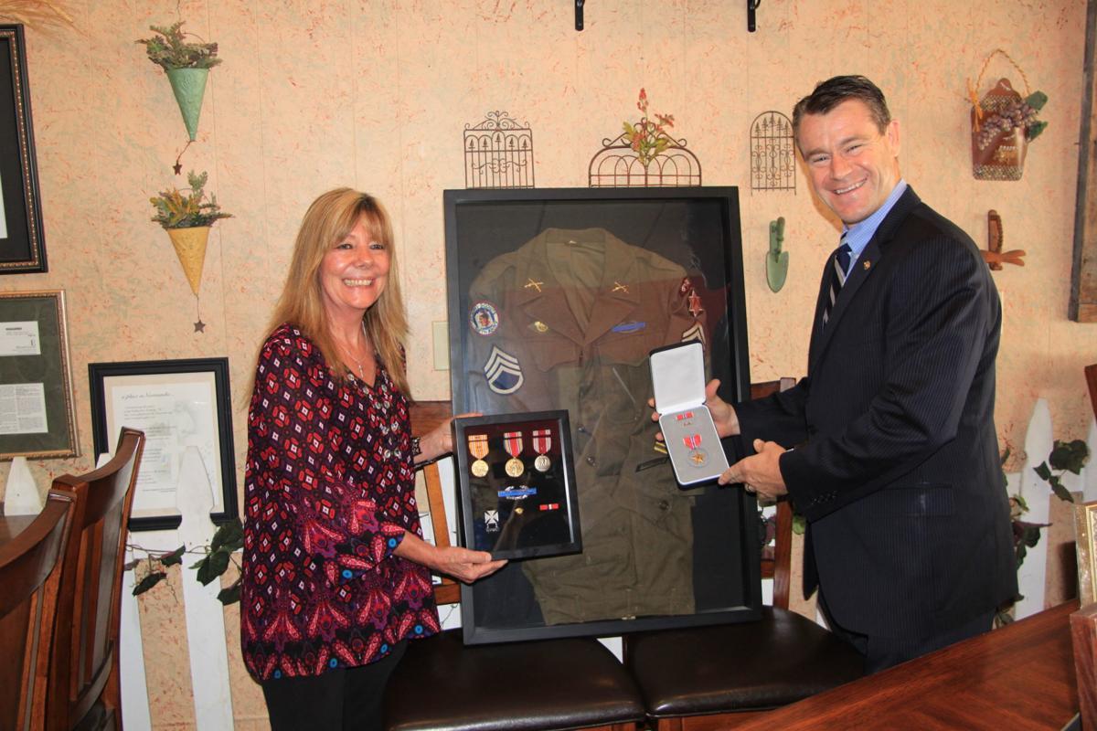 Sandra Dillinger, Sen. Todd Young, medals