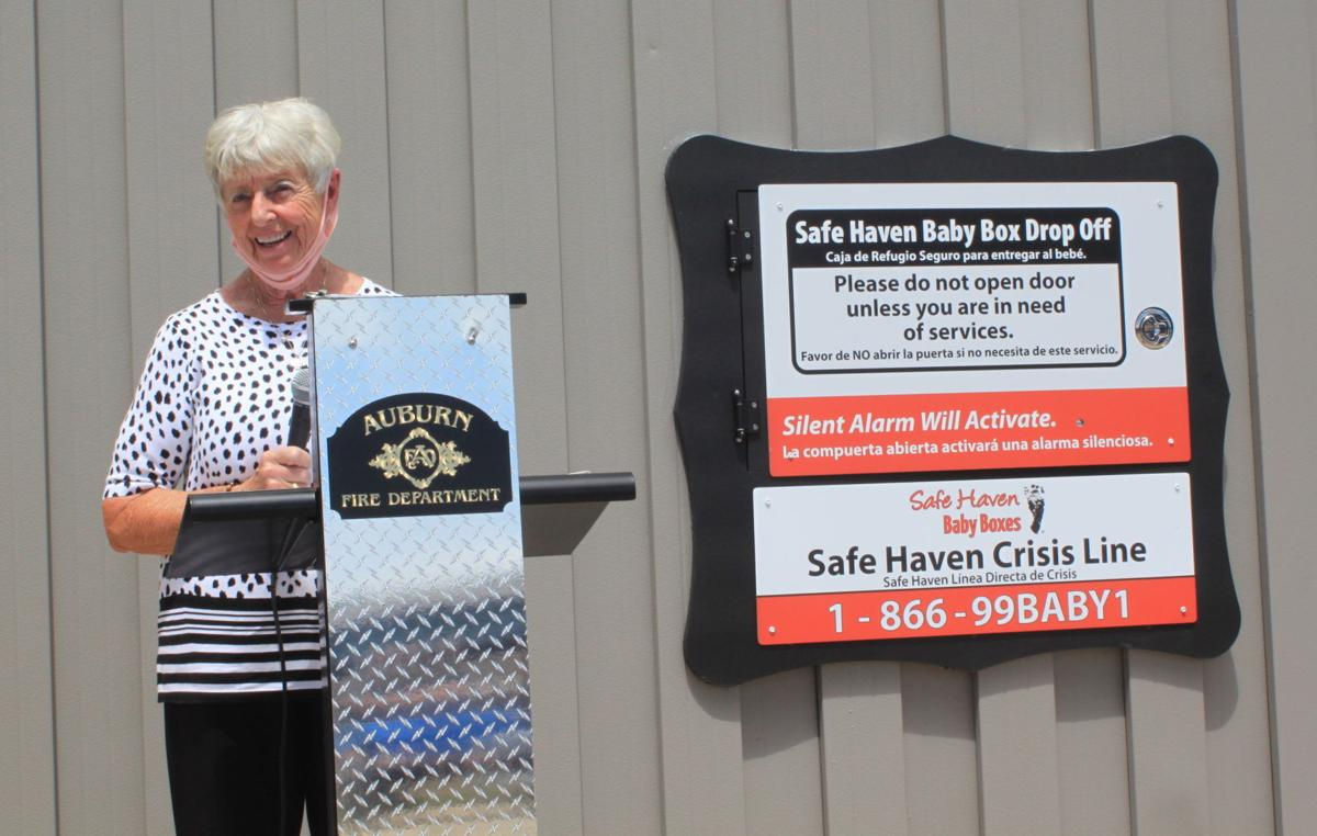 Phyllis Gerstner with Auburn's Safe Haven Baby Box